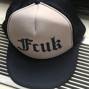 FCUK adjustable trucker navy blue cap